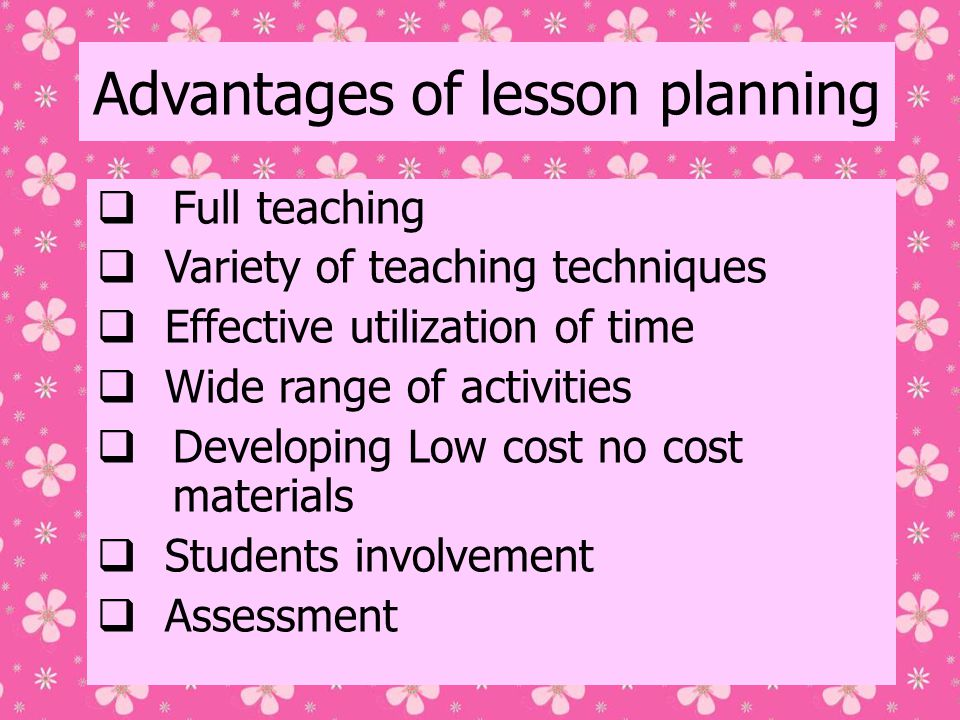 Advantages of lesson planning