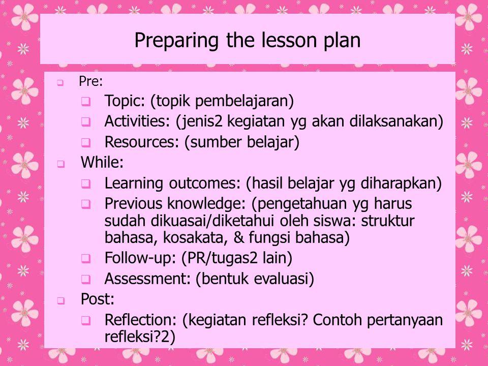 Preparing the lesson plan
