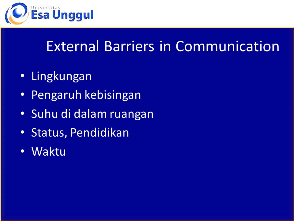 External Barriers in Communication