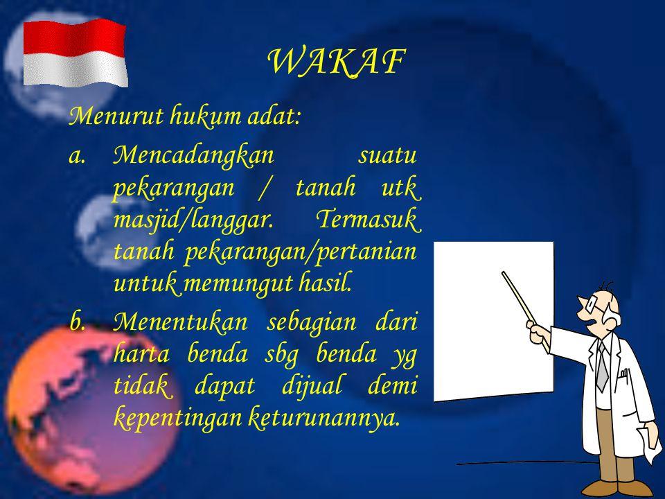 WAKAF Menurut hukum adat: