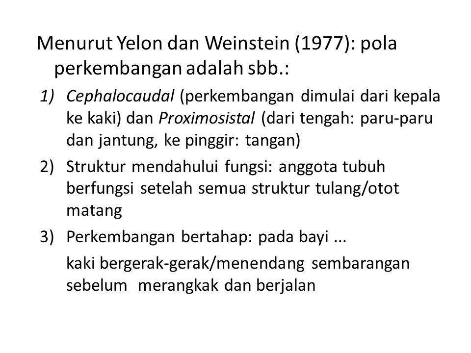 Menurut Yelon dan Weinstein (1977): pola perkembangan adalah sbb.: