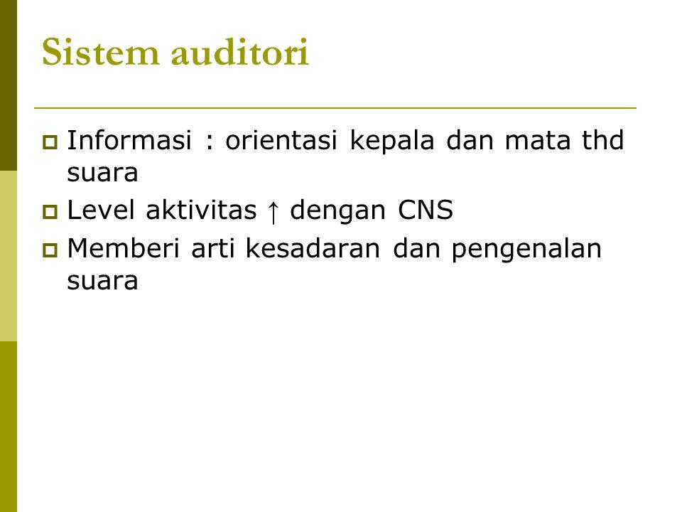 Sistem auditori Informasi : orientasi kepala dan mata thd suara