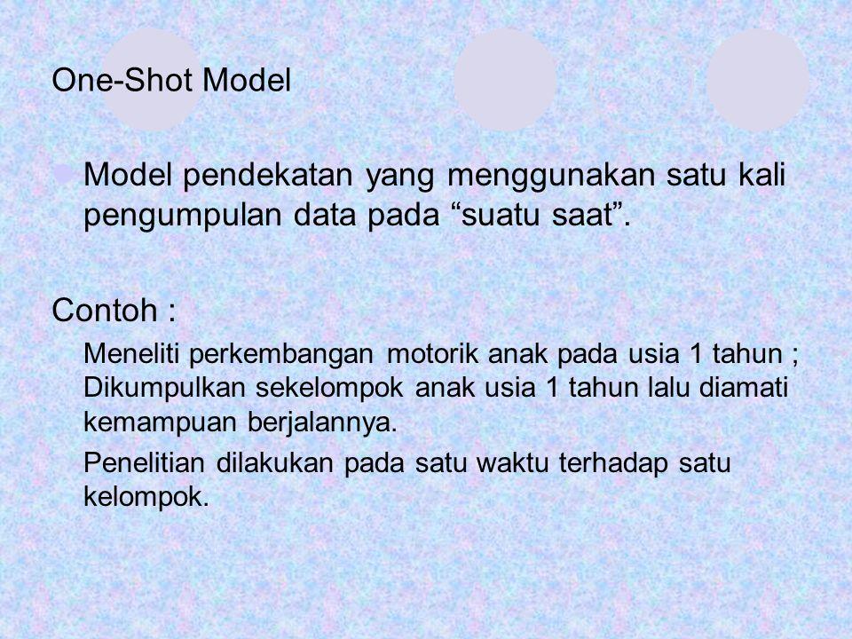 One-Shot Model Model pendekatan yang menggunakan satu kali pengumpulan data pada suatu saat . Contoh :