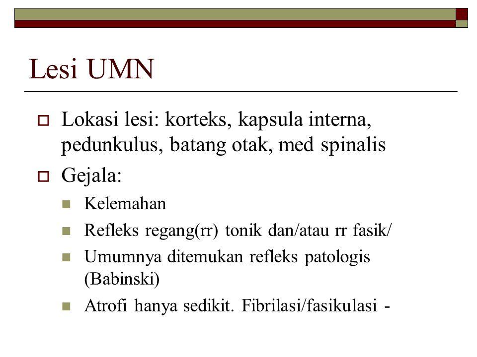 Lesi UMN Lokasi lesi: korteks, kapsula interna, pedunkulus, batang otak, med spinalis. Gejala: Kelemahan.