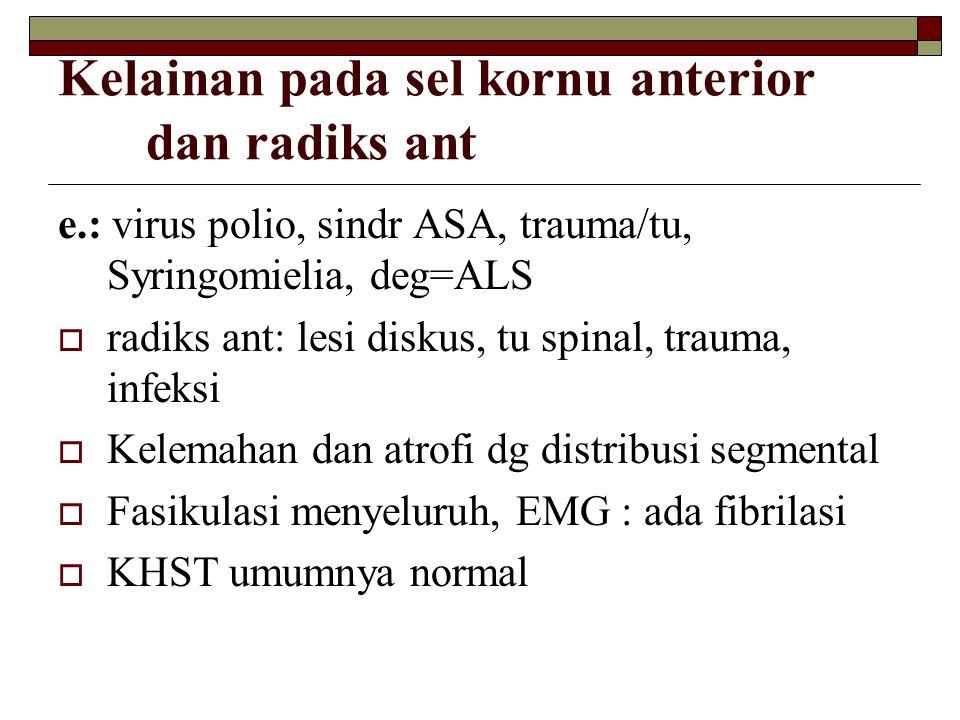 Kelainan pada sel kornu anterior dan radiks ant