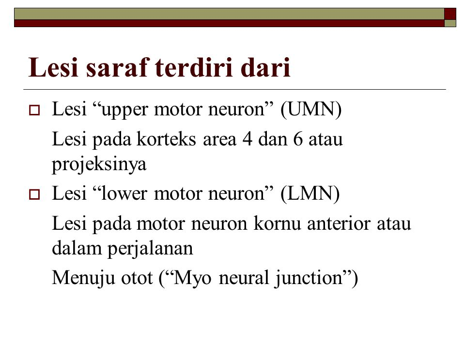 Lesi saraf terdiri dari