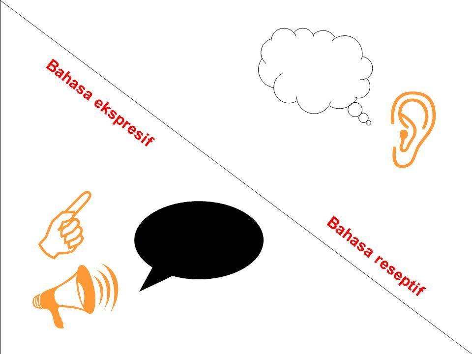  Bahasa ekspresif   Bahasa reseptif Bahasa reseptif