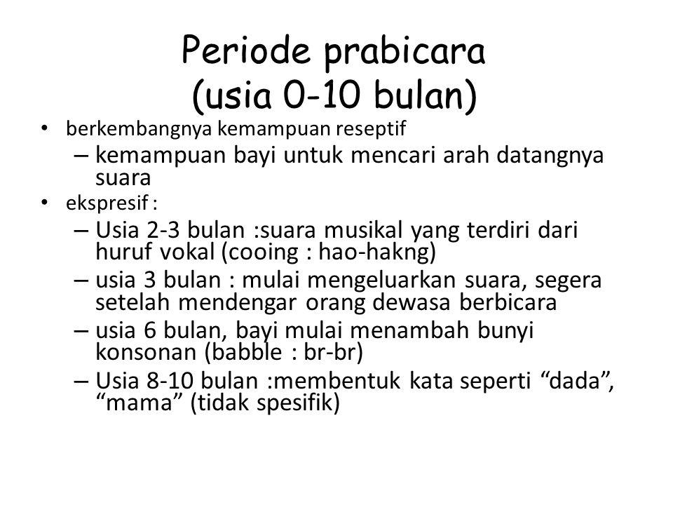 Periode prabicara (usia 0-10 bulan)