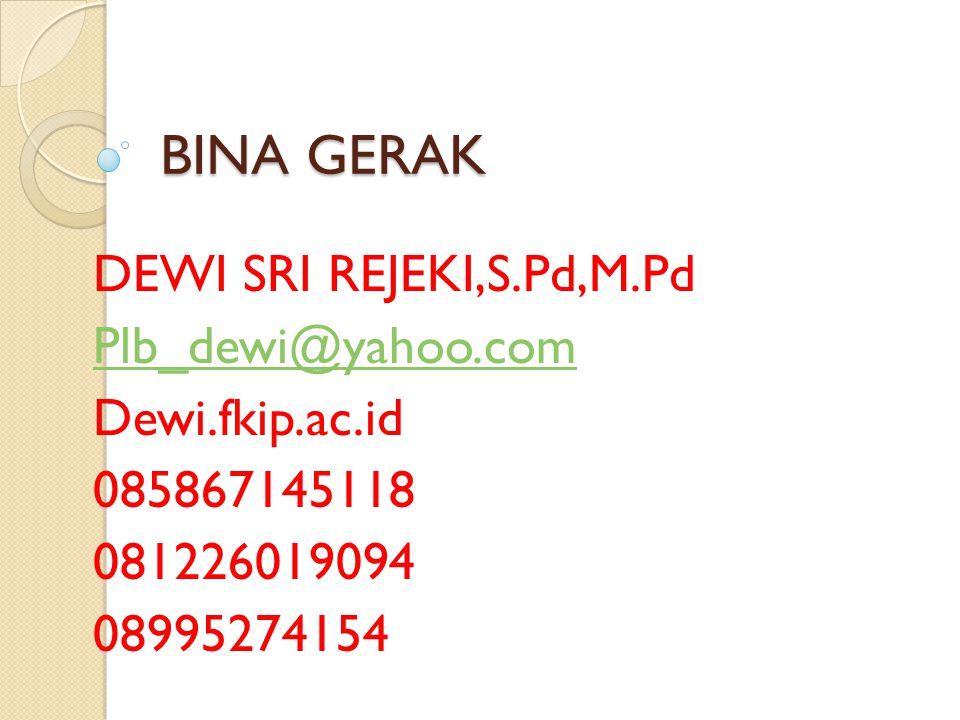 BINA GERAK DEWI SRI REJEKI,S.Pd,M.Pd Plb_dewi@yahoo.com