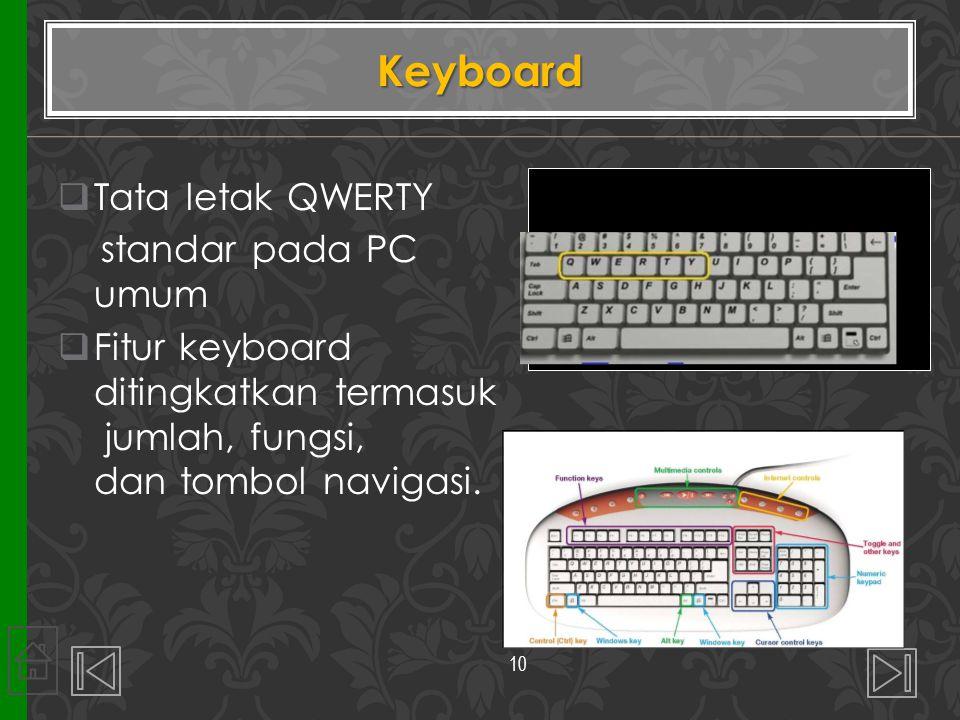 Keyboard Tata letak QWERTY standar pada PC umum