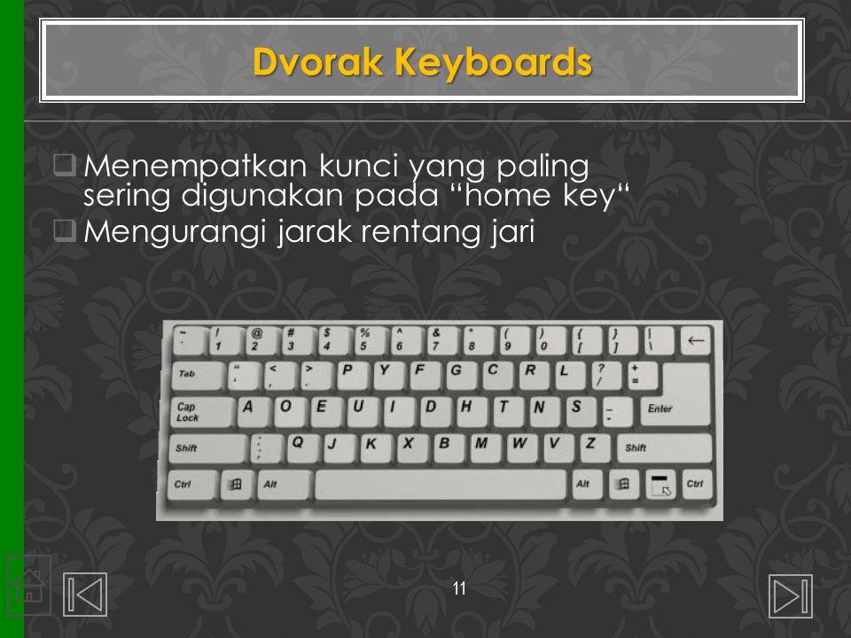 Dvorak Keyboards Menempatkan kunci yang paling sering digunakan pada home key Mengurangi jarak rentang jari.