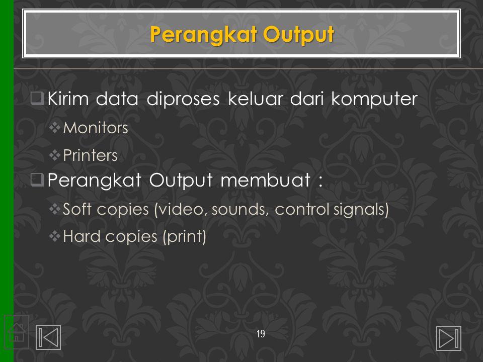 Perangkat Output Kirim data diproses keluar dari komputer