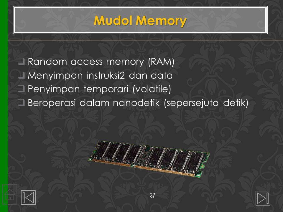 Mudol Memory Random access memory (RAM) Menyimpan instruksi2 dan data