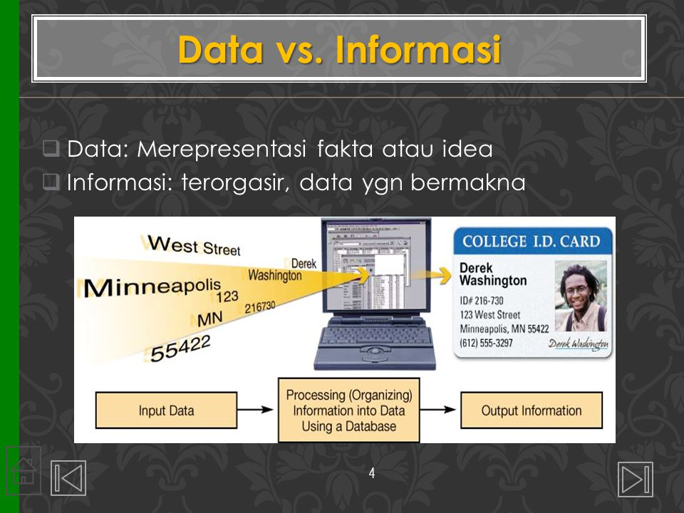 Data vs. Informasi Data: Merepresentasi fakta atau idea
