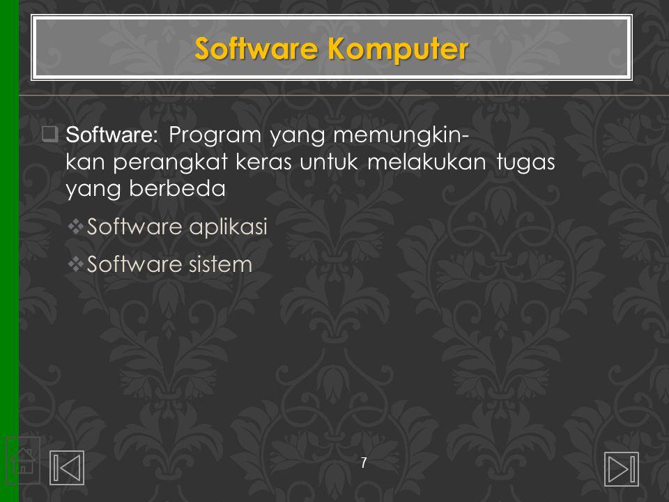 Software Komputer Software: Program yang memungkin- kan perangkat keras untuk melakukan tugas yang berbeda.
