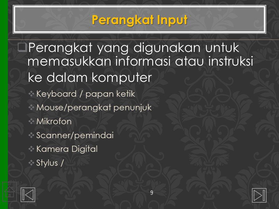 Perangkat yang digunakan untuk memasukkan informasi atau instruksi
