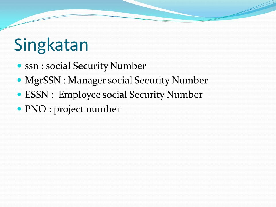 Singkatan ssn : social Security Number