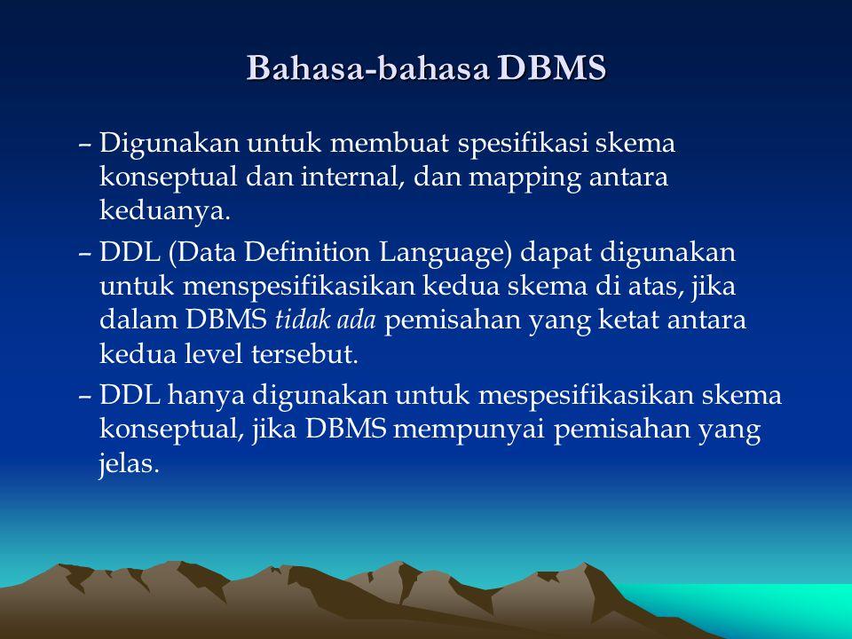 Bahasa-bahasa DBMS Digunakan untuk membuat spesifikasi skema konseptual dan internal, dan mapping antara keduanya.
