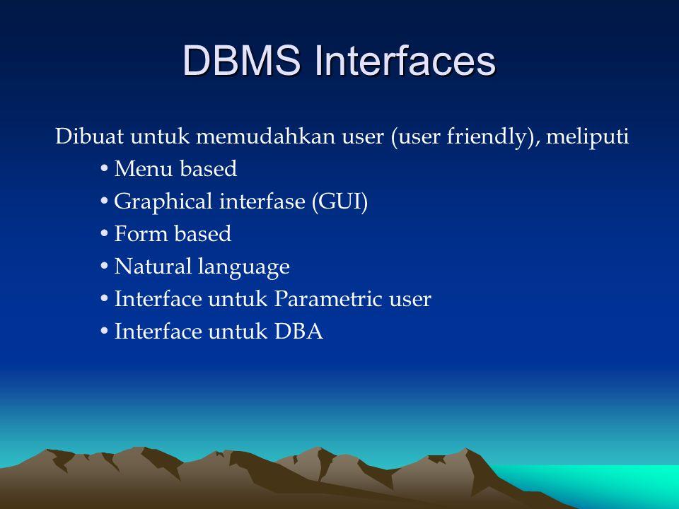 DBMS Interfaces Dibuat untuk memudahkan user (user friendly), meliputi