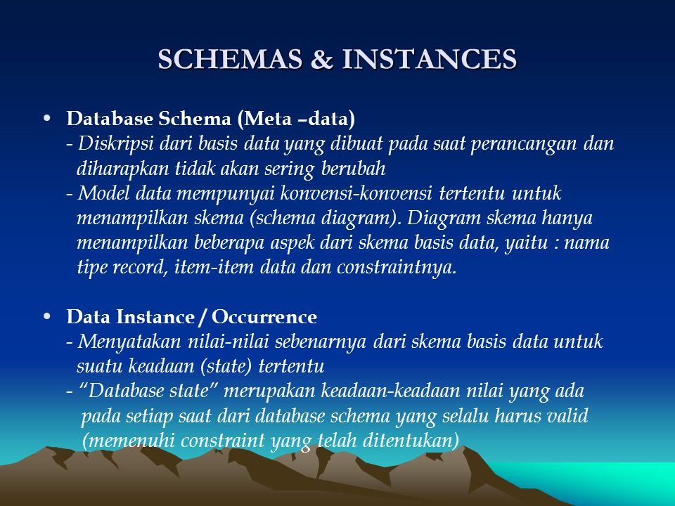 SCHEMAS & INSTANCES Database Schema (Meta –data)