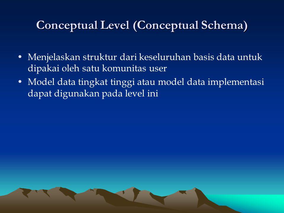 Conceptual Level (Conceptual Schema)