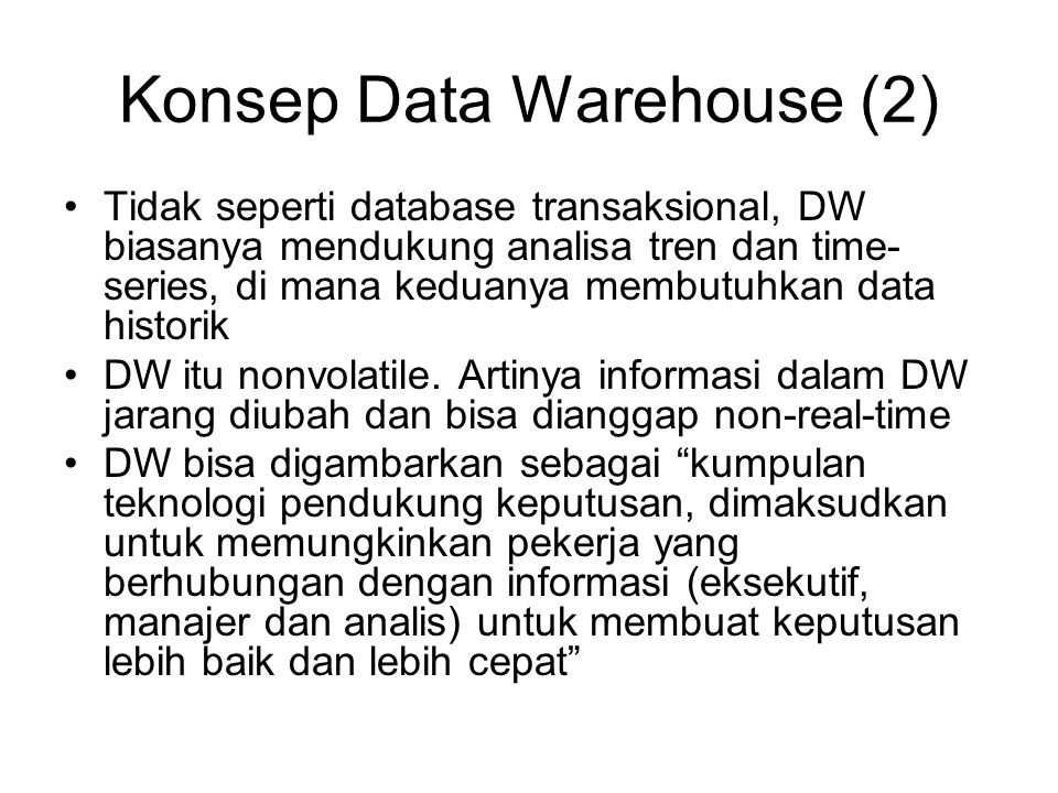 Konsep Data Warehouse (2)
