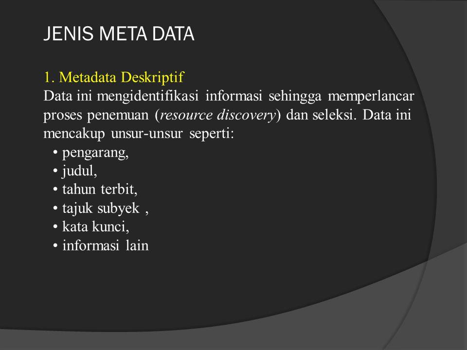 JENIS META DATA 1. Metadata Deskriptif