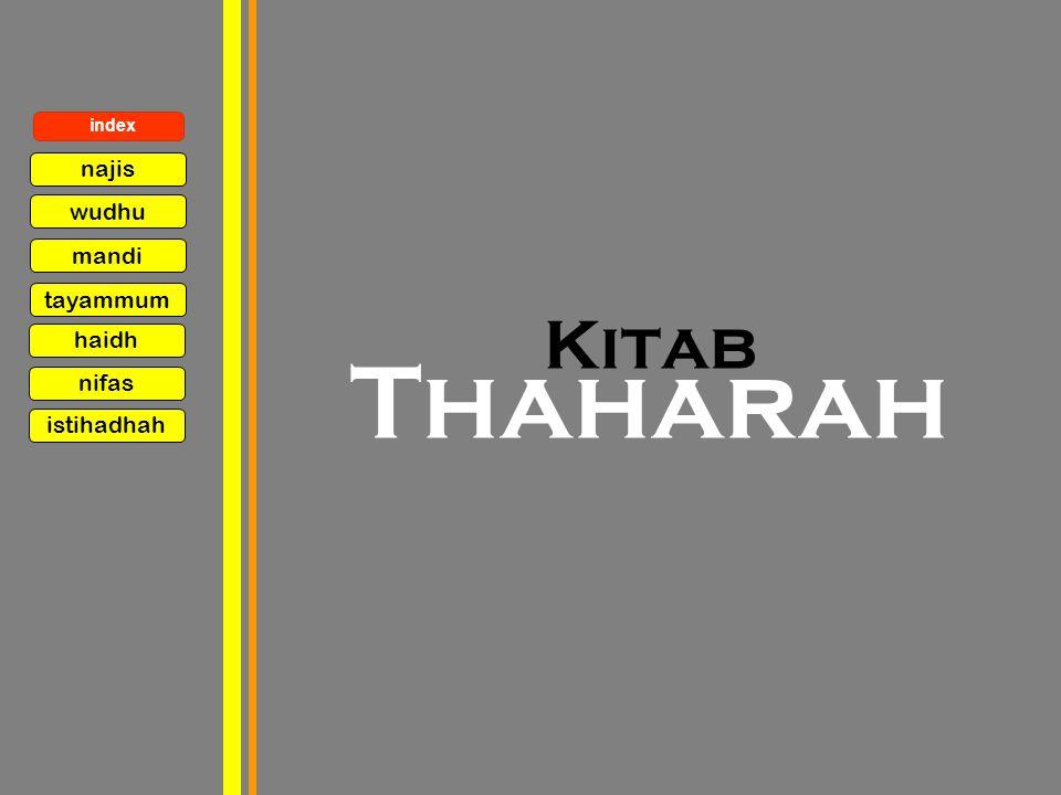 index najis wudhu mandi tayammum haidh Kitab Thaharah nifas istihadhah