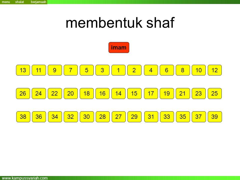 menu shalat. berjamaah. membentuk shaf. imam. 13. 11. 9. 7. 5. 3. 1. 2. 4. 6. 8. 10.