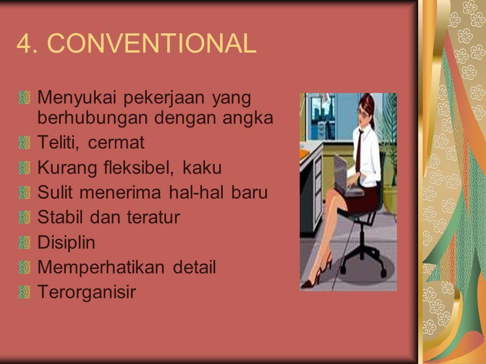 4. CONVENTIONAL Menyukai pekerjaan yang berhubungan dengan angka