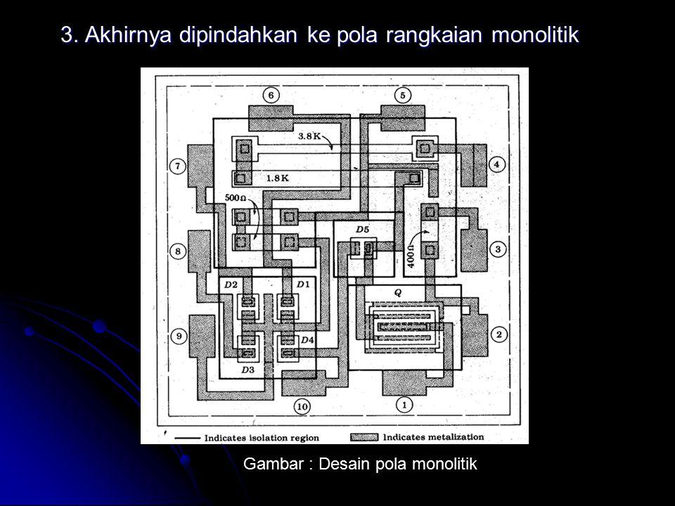 3. Akhirnya dipindahkan ke pola rangkaian monolitik