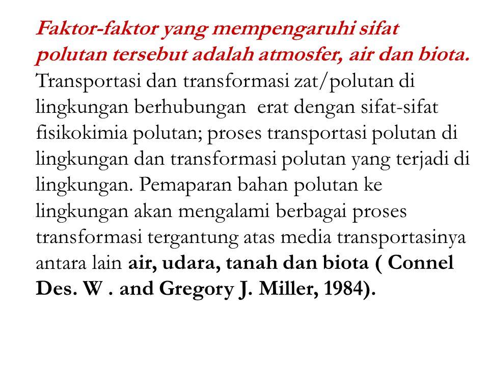 Faktor-faktor yang mempengaruhi sifat polutan tersebut adalah atmosfer, air dan biota.