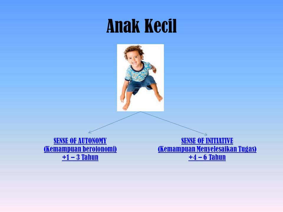 Anak Kecil SENSE OF AUTONOMY (Kemampuan berotonomi) +1 – 3 Tahun