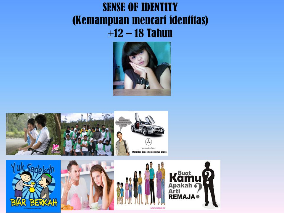SENSE OF IDENTITY (Kemampuan mencari identitas) 12 – 18 Tahun