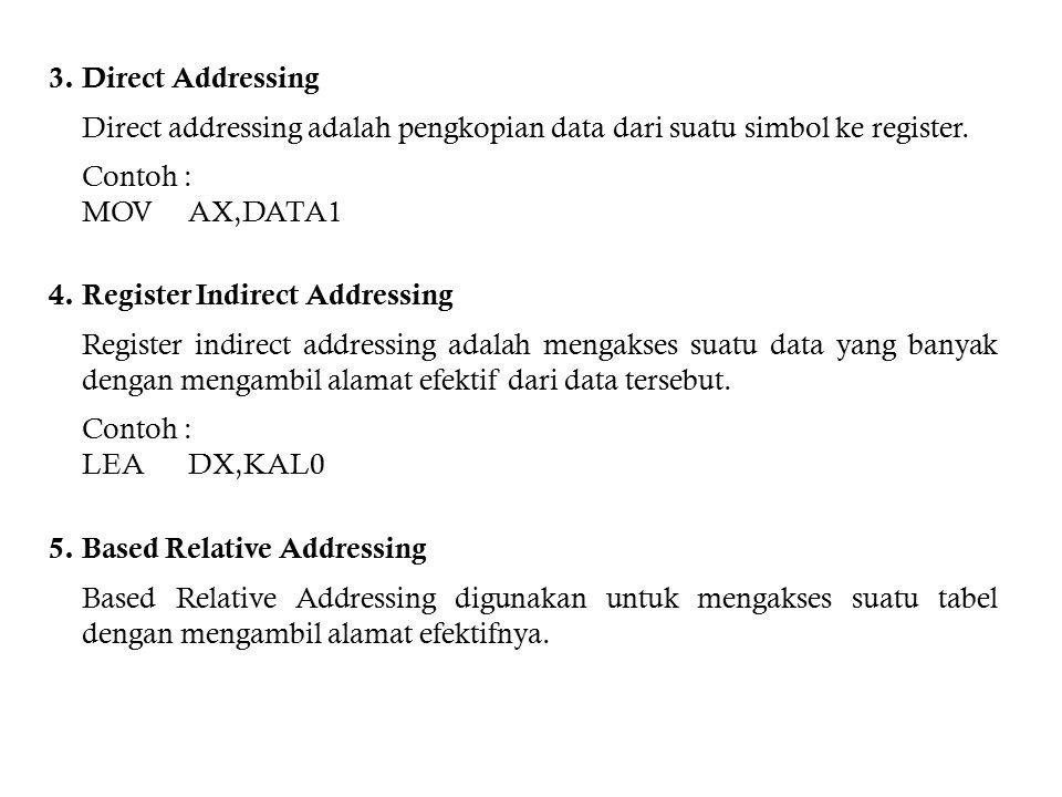 3. Direct Addressing Direct addressing adalah pengkopian data dari suatu simbol ke register. Contoh :