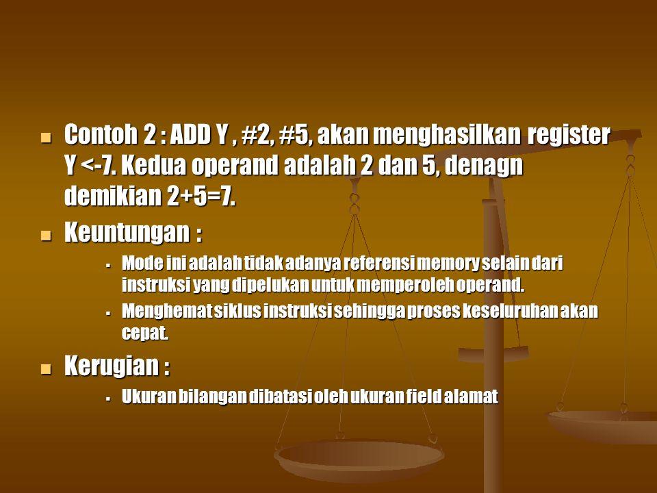 Contoh 2 : ADD Y , #2, #5, akan menghasilkan register Y <-7