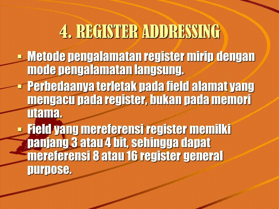 4. REGISTER ADDRESSING Metode pengalamatan register mirip dengan mode pengalamatan langsung.