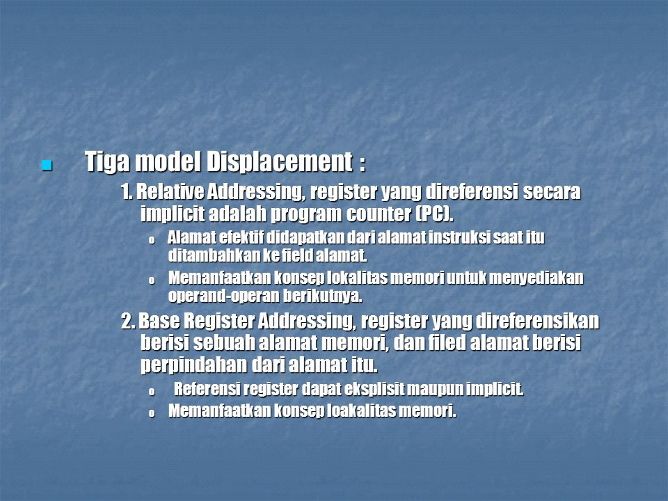 Tiga model Displacement :