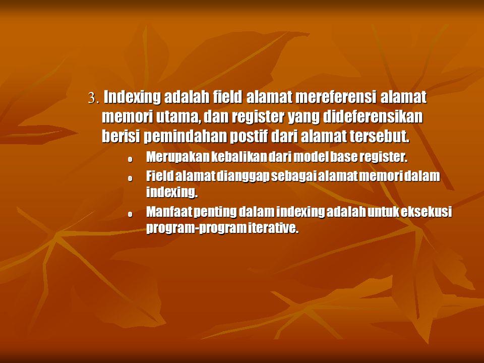 3. Indexing adalah field alamat mereferensi alamat memori utama, dan register yang dideferensikan berisi pemindahan postif dari alamat tersebut.