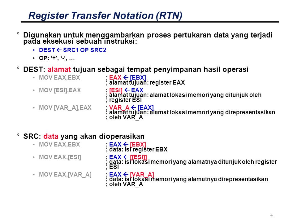Register Transfer Notation (RTN)