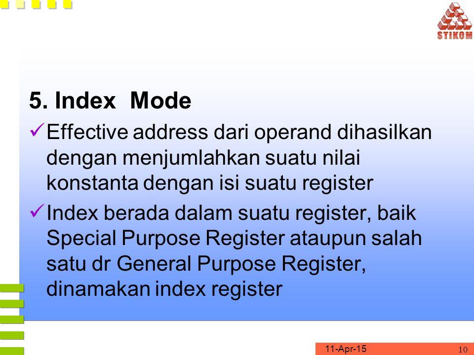 5. Index Mode Effective address dari operand dihasilkan dengan menjumlahkan suatu nilai konstanta dengan isi suatu register.