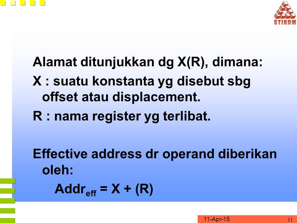 Alamat ditunjukkan dg X(R), dimana: