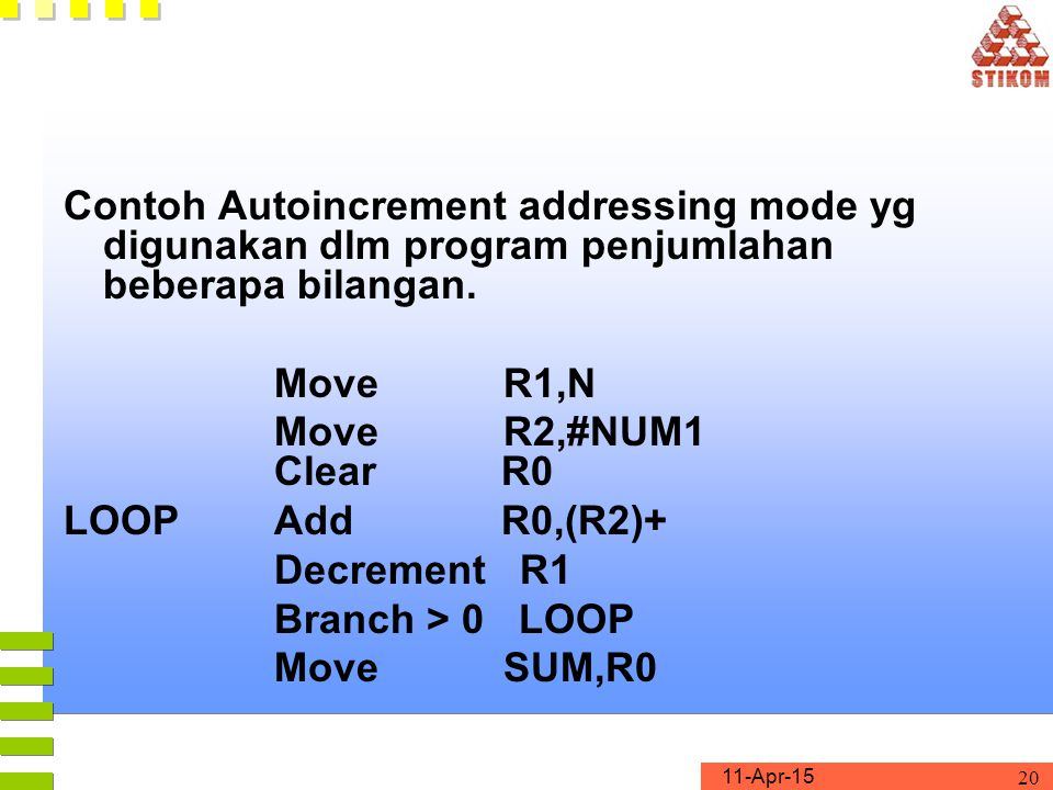 Contoh Autoincrement addressing mode yg digunakan dlm program penjumlahan beberapa bilangan.