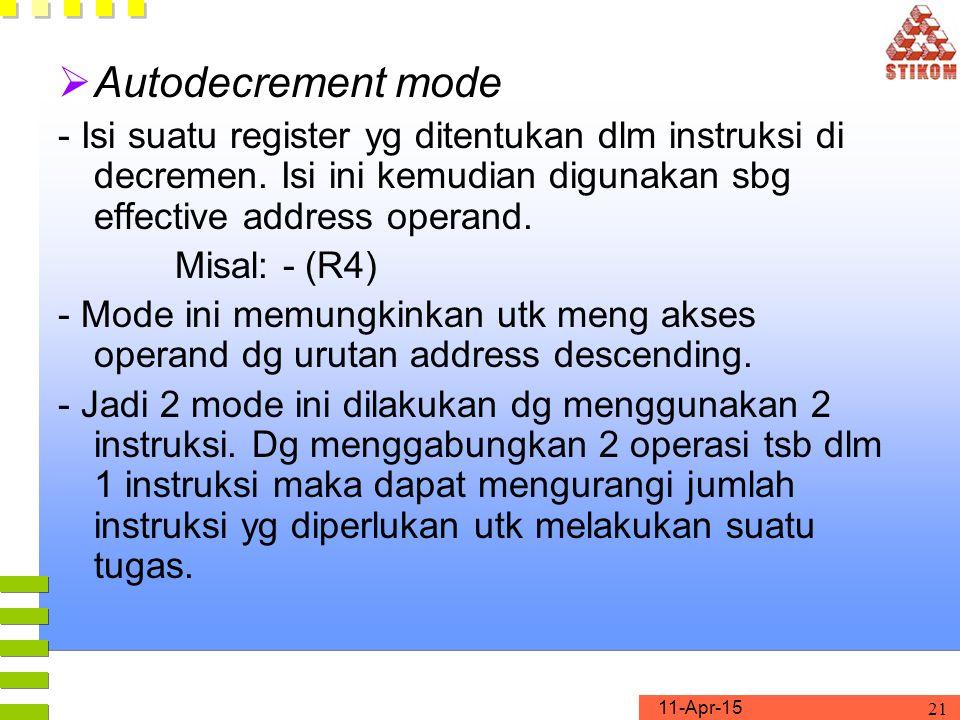 Autodecrement mode - Isi suatu register yg ditentukan dlm instruksi di decremen. Isi ini kemudian digunakan sbg effective address operand.