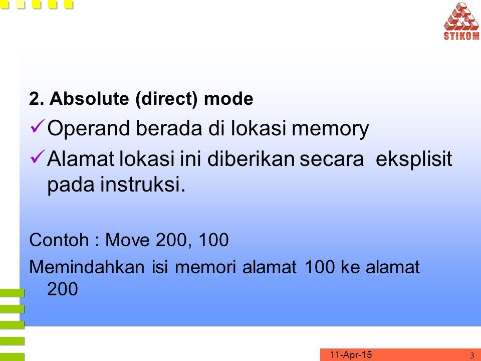 Operand berada di lokasi memory