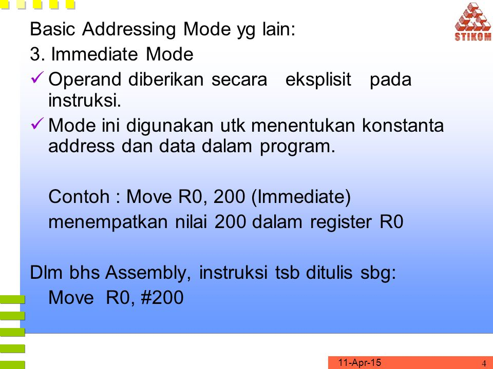 Basic Addressing Mode yg lain: