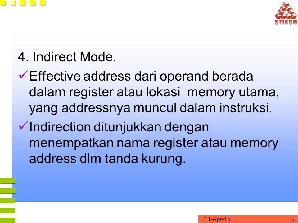 4. Indirect Mode. Effective address dari operand berada dalam register atau lokasi memory utama, yang addressnya muncul dalam instruksi.