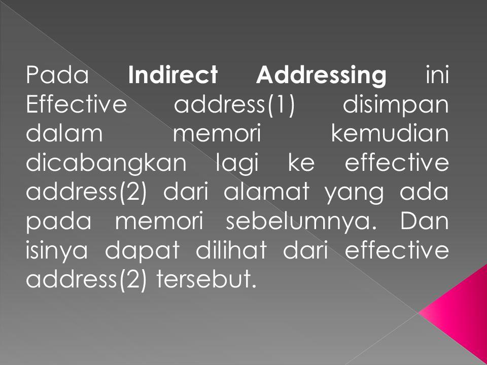Pada Indirect Addressing ini Effective address(1) disimpan dalam memori kemudian dicabangkan lagi ke effective address(2) dari alamat yang ada pada memori sebelumnya.