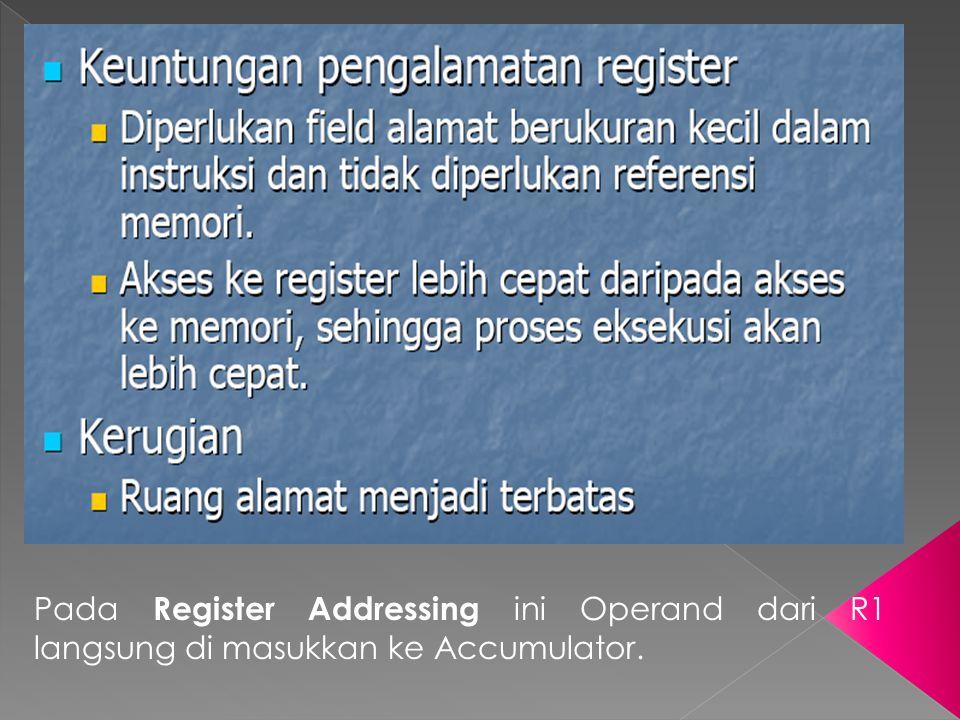 Pada Register Addressing ini Operand dari R1 langsung di masukkan ke Accumulator.
