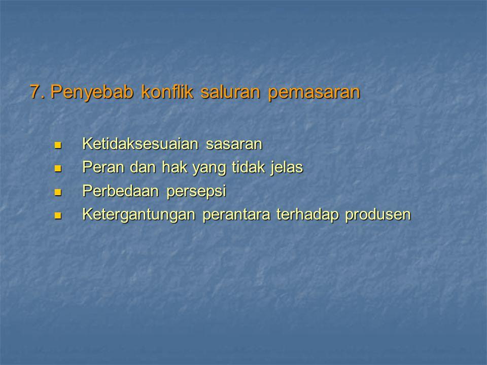 7. Penyebab konflik saluran pemasaran
